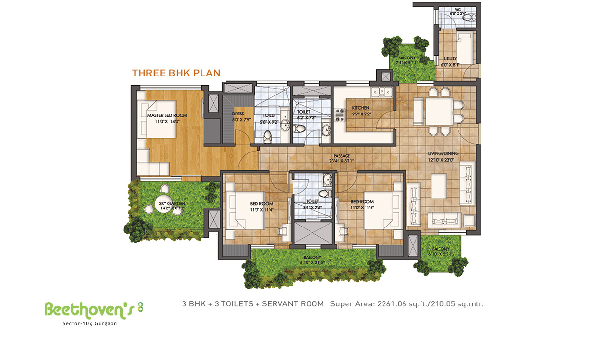 Three BHK Plan